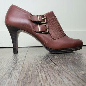 Ann Klein Brown Leather Booties Awkwarrena Size 9